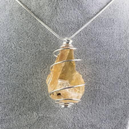 Ciondolo CALCITE MIELATA GREZZA Montata Artigianalmente Spirale Placcato Argento-1