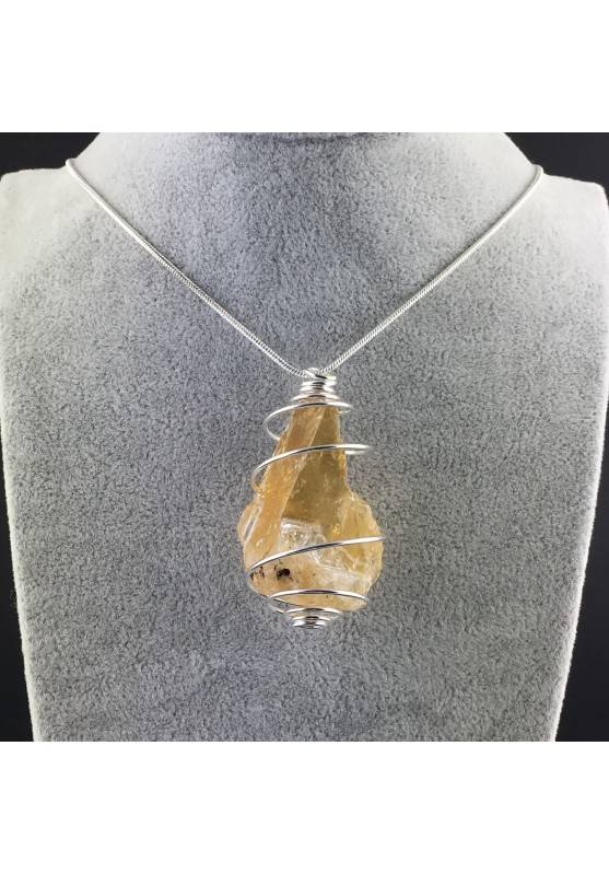 HONEY CALCITE Pendant Rough Hand Made on SILVER Plated Spiral-2