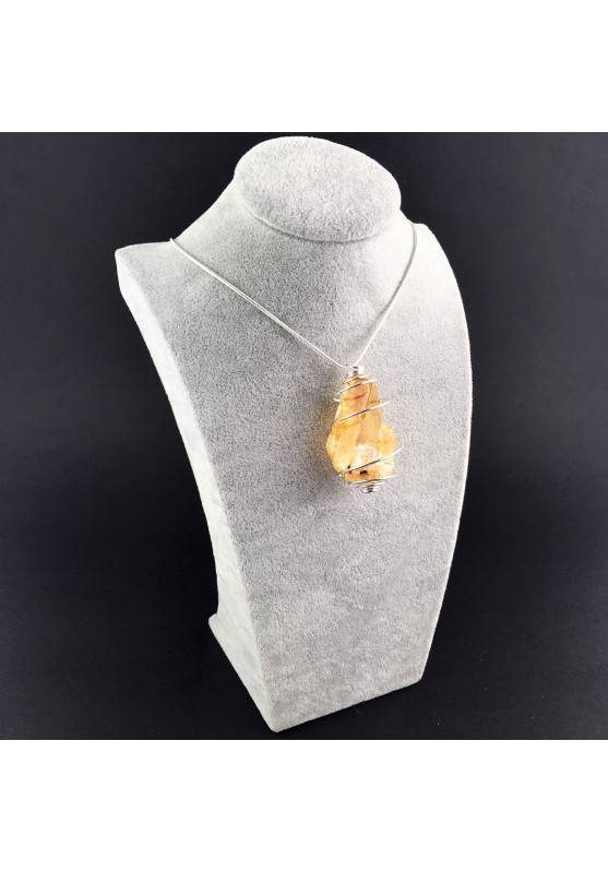 HONEY CALCITE Pendant Rough Hand Made on SILVER Plated Spiral-3