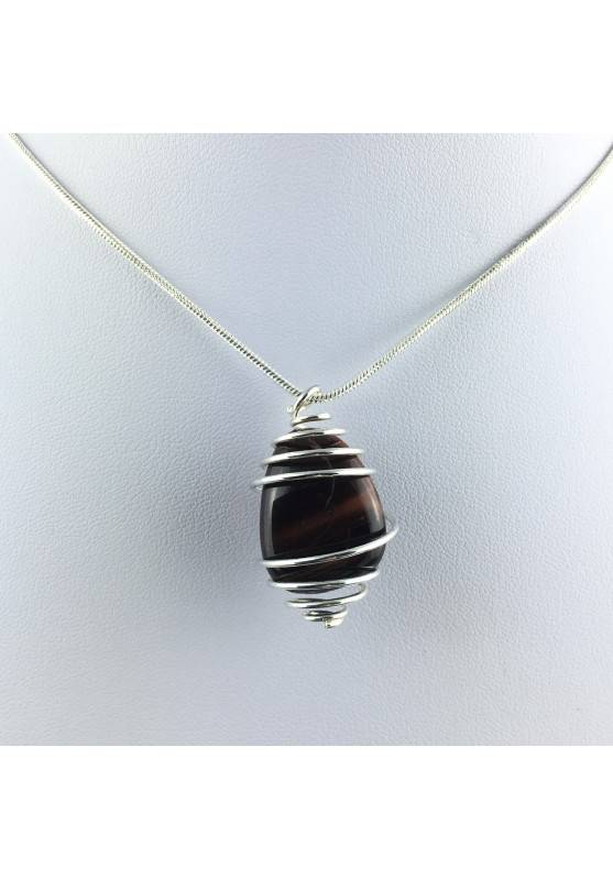 BULL'S EYE Pendant Hand Made on SILVER Plated Spiral Tumbled Stone Healing A+-1