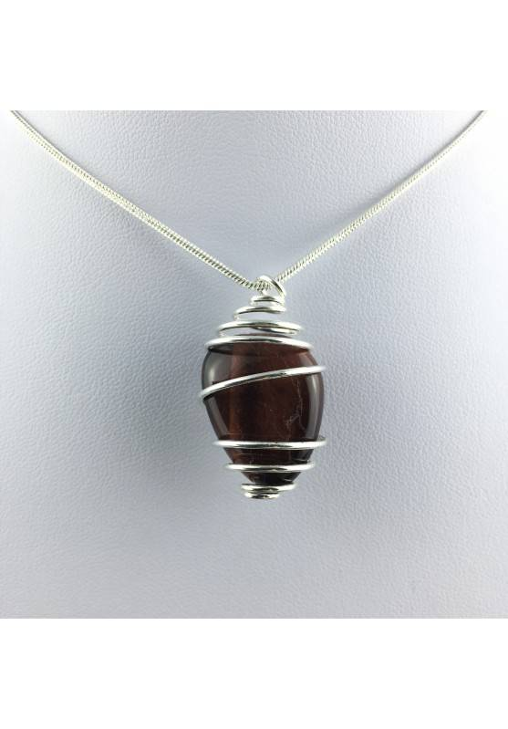 BULL'S EYE Pendant Hand Made on SILVER Plated Spiral Tumbled Stone Healing A+-4