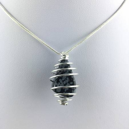 Snow OBSIDIAN Pendant Tumble Stone Hand Made on SILVER Plated Spiral A+-4