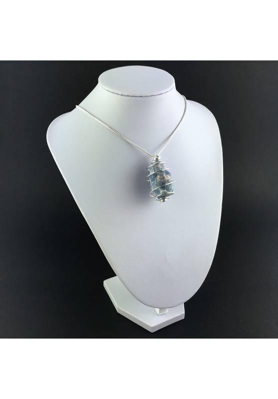 Blue CALCITE Rough Pendant Stone - CANCER Zodiac SILVER Plated Spiral Gift Idea A+-3