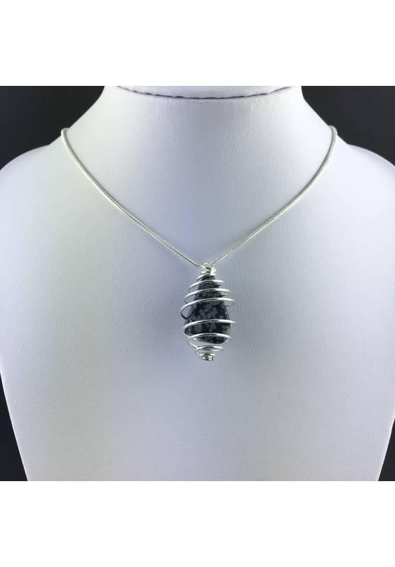 Snow OBSIDIAN Pendant Tumble Stone - CAPRICORN Zodiac SILVER Plated Spiral A+-5