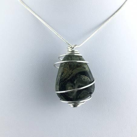 Kambaba Jasper NEBULA Stone Pendant Hand Made on Silver Plated Spiral A+-1