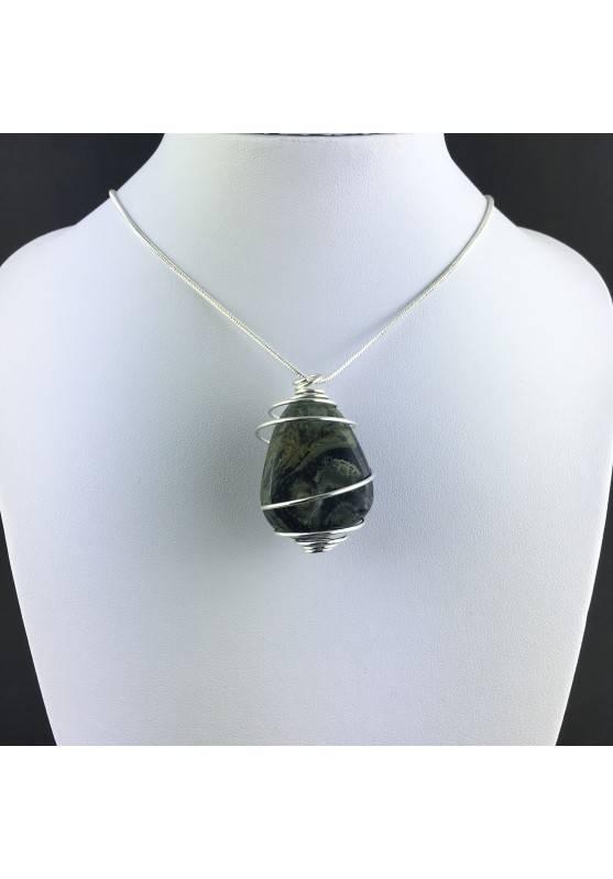 Kambaba Jasper NEBULA Stone Pendant Hand Made on Silver Plated Spiral A+-2