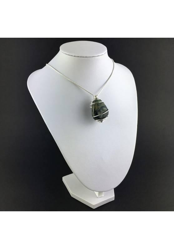 Kambaba Jasper NEBULA Stone Pendant Hand Made on Silver Plated Spiral A+-3