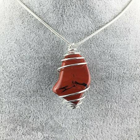 Pendant in Red Breciated Jasper Hand Made on SILVER Plated Spiral A+-1