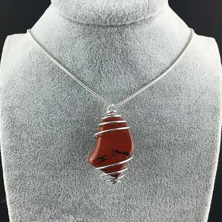 Pendant in Red Breciated Jasper Hand Made on SILVER Plated Spiral A+-2