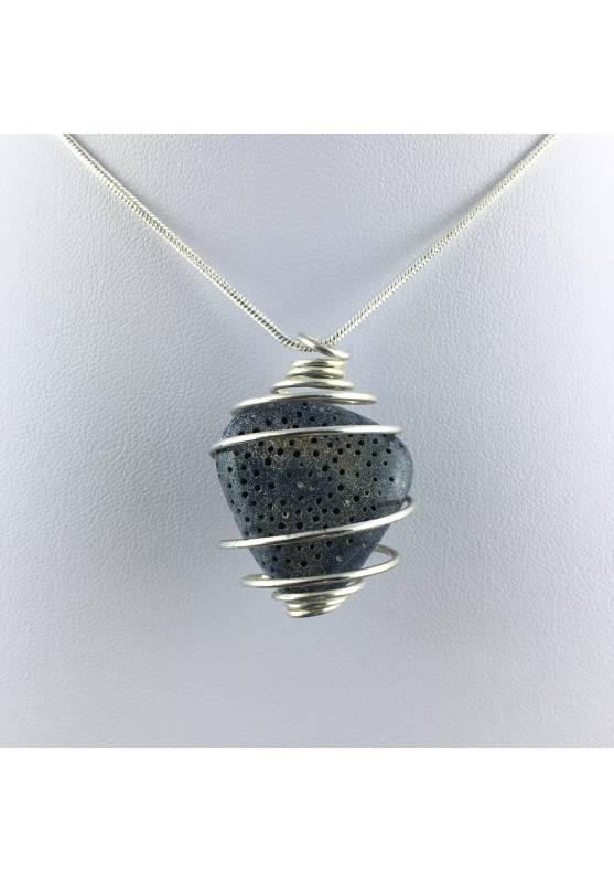Ciondolo MADREPORA BLU Montata Artigianalmente Spirale Placcato Argento A+-1