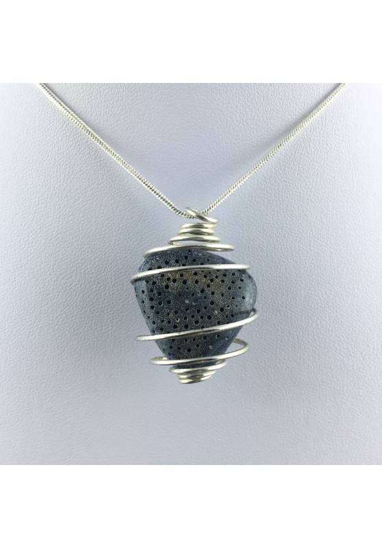 Pendant in Blue MADREPORE Mother of Pore Hand Made on SILVER Plated Spiral A+-1