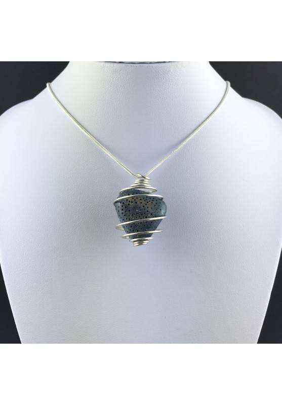 Ciondolo MADREPORA BLU Montata Artigianalmente Spirale Placcato Argento A+-2