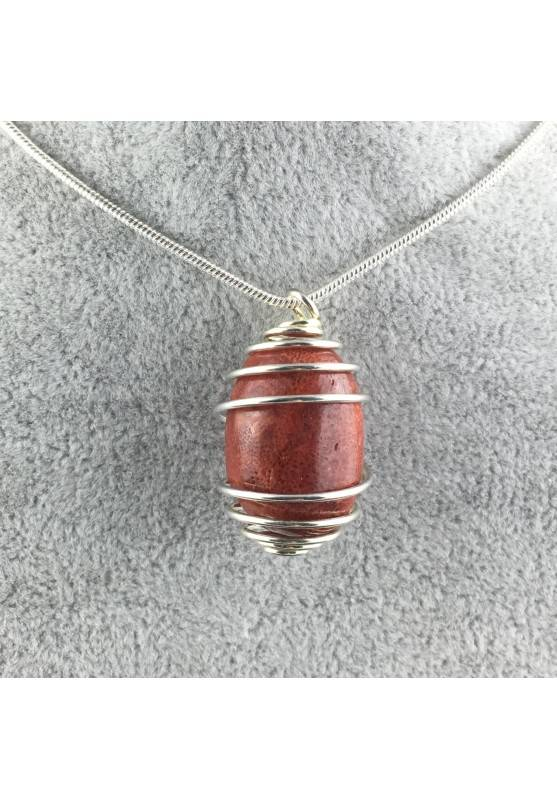 Red Madrepore Mother of Pore Pendant Hand Made on SILVER Plated Spiral A+-1