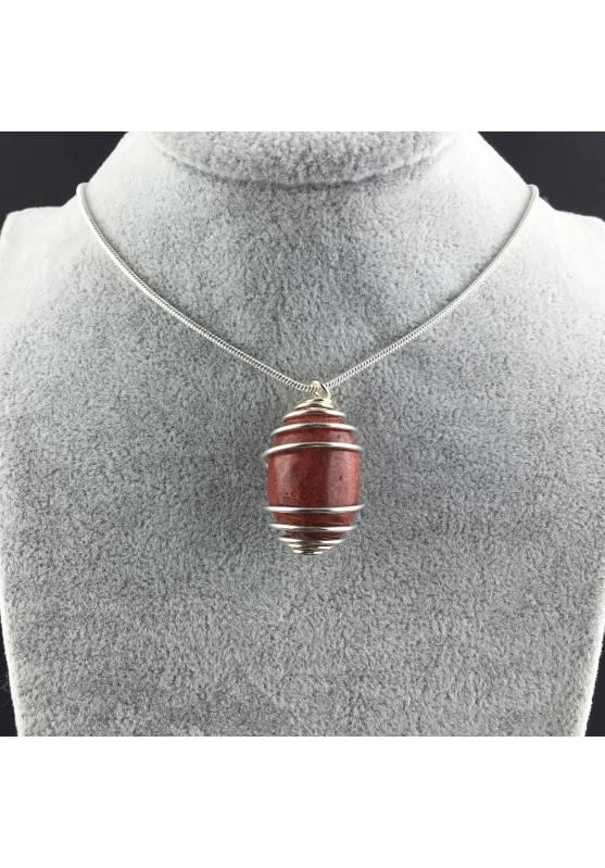 Ciondolo MADREPORA ROSSA Montata Artigianalmente Spirale Placcato Argento A+-2