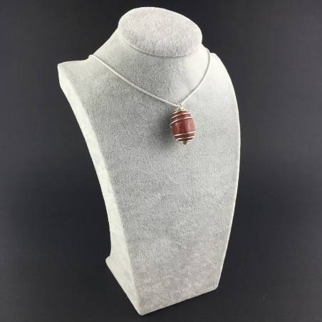 Red Madrepore Mother of Pore Pendant Hand Made on SILVER Plated Spiral A+-3