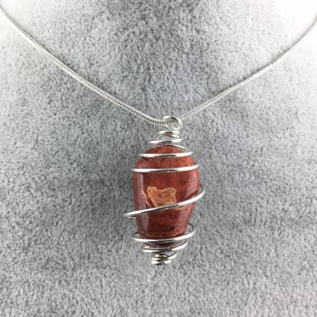 Red Madrepore Mother of Pore Pendant Hand Made on SILVER Plated Spiral A+-4
