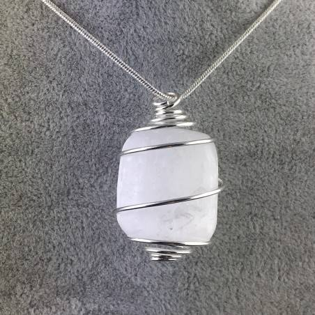 Ciondolo SELENITE Montata Artigianalmente Spirale Placcato Argento Regalo A+-1