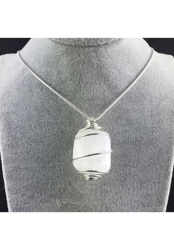 Ciondolo SELENITE Montata Artigianalmente Spirale Placcato Argento Regalo A+-2