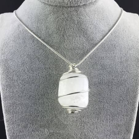 Pendant SELENITE Hand Made on SILVER Plated Spiral Gift Idea A+-2