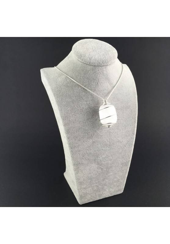 Pendant SELENITE Hand Made on SILVER Plated Spiral Gift Idea A+-3