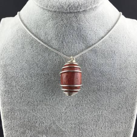 Pendant in Red Madrepore Mother of Pore - TAURUS LIBRA Zodiac SILVER Plated Spiral A+-2