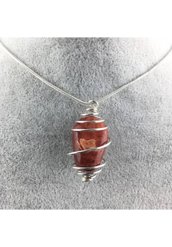 Pendant in Red Madrepore Mother of Pore - TAURUS LIBRA Zodiac SILVER Plated Spiral A+-4