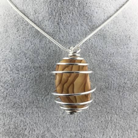 Picture Jasper Sand STONE Pendant - ARIES Zodiac SILVER Plated Spiral Tumbled Stones-1
