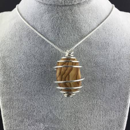 Picture Jasper Sand STONE Pendant - ARIES Zodiac SILVER Plated Spiral Tumbled Stones-2