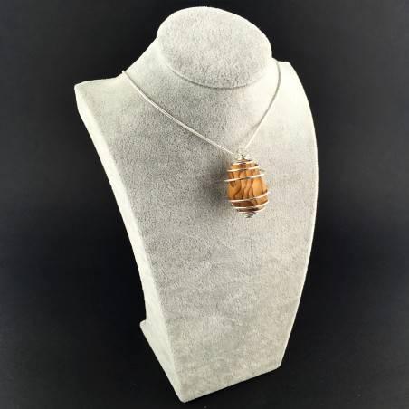 Picture Jasper Sand STONE Pendant - ARIES Zodiac SILVER Plated Spiral Tumbled Stones-3