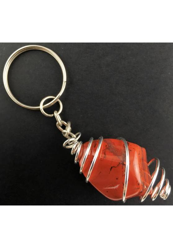 RED Brecciated JASPER Keychain Keyring Hand Made on SILVER Plated Spiral A+-1