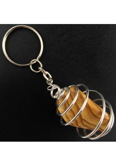 Picture Jasper Sand Stone Tumbled Keychain Keyring - ARIES SILVER Plated Spiral-1