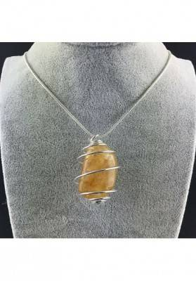 HONEY CALCITE Pendant Hand Made on SILVER Plated Spiral A+-3