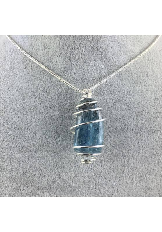 Blue Kyanite Pendant Hand Made on SILVER Plated Spiral Gift Idea A+-1