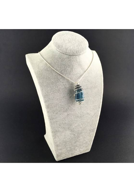 Blue Kyanite Pendant Hand Made on SILVER Plated Spiral Gift Idea A+-3