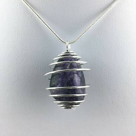 Charoit Hand Made Pendant on SILVER Plated Spiral Gift Idea Healing Chain A+-1