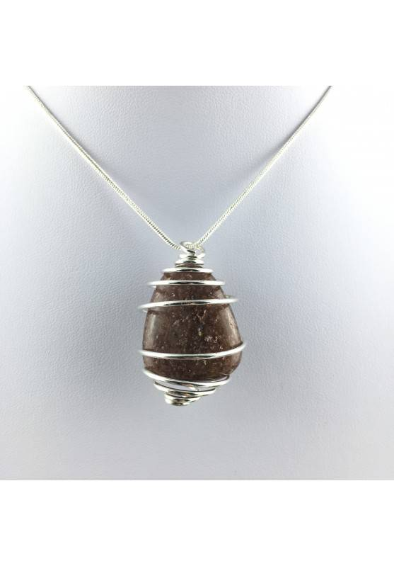 Pendant in LEPIDOLITE Hand Made on SILVER Plated Spiral Gift Idea A+-1