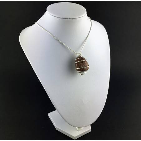 Pendant in LEPIDOLITE Hand Made on SILVER Plated Spiral Gift Idea A+-3