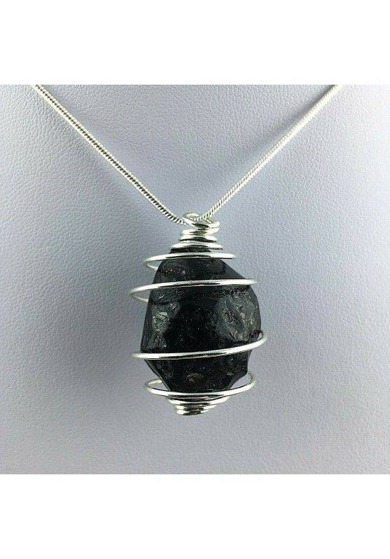 LARGE Apache Tear Obsidian Pendant Hand Made on SILVER Plated Spiral-1
