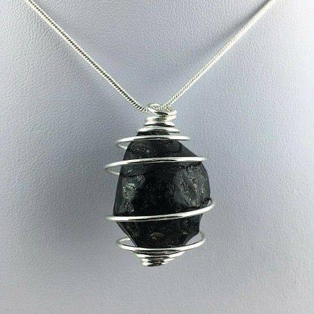 LARGE Apache Tear Obsidian Pendant - AQUARIUS Zodiac SILVER Plated Spiral A+-1