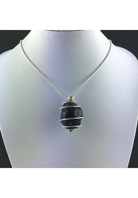LARGE Apache Tear Obsidian Pendant - AQUARIUS Zodiac SILVER Plated Spiral A+-2
