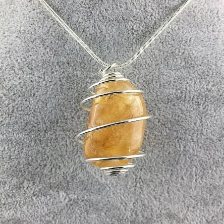Pendant in HONEY CALCITE - VIRGO SAGITTARIUS Zodiac SILVER Plated Spiral Natural Stone-2