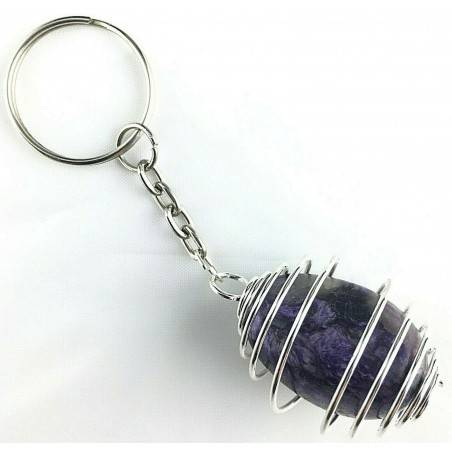 Charoit Tumbled Stone Keychain Keyring Hand Made on Silver Plated Spiral Gift Idea A+-1