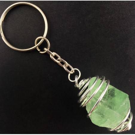 Rough OCTAHEDRON FLUORITE Keychain Keyring Hand Made on Silver Plated Spiral-1