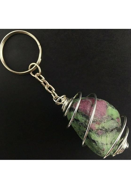 RUBY ZOISITE Tumbled Stone Keychain Keyring - ARIES Zodiac Silver Plated Spiral Gift Idea A+-1
