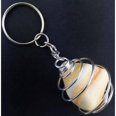 Yellow Calcite Keychain Keyring - VIRGO SAGITTARIUS Zodiac Silver Plated Spiral-2