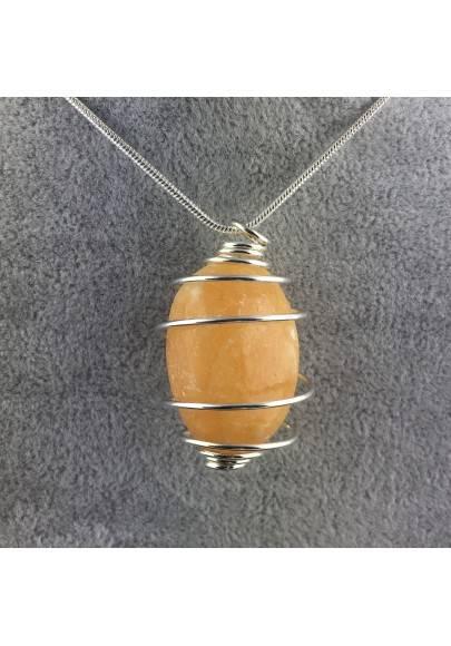 Ciondolo CALCITE GIALLA Montata Artigianalmente Spirale Placcato Argento A+-1