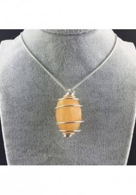 Ciondolo CALCITE GIALLA Montata Artigianalmente Spirale Placcato Argento A+-2