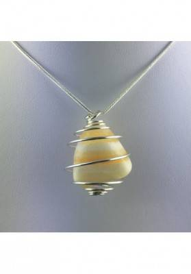 Yellow CALCITE Pendant Hand Made on SILVER Plated Spiral Crystal Healing A+-4