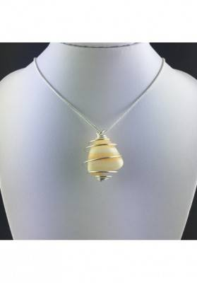 Yellow CALCITE Pendant Hand Made on SILVER Plated Spiral Crystal Healing A+-5