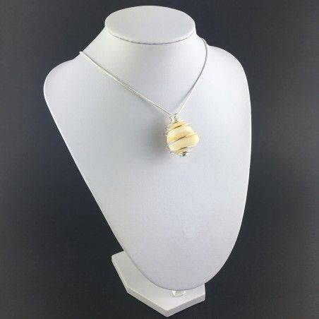 Yellow CALCITE Pendant Hand Made on SILVER Plated Spiral Crystal Healing A+-6